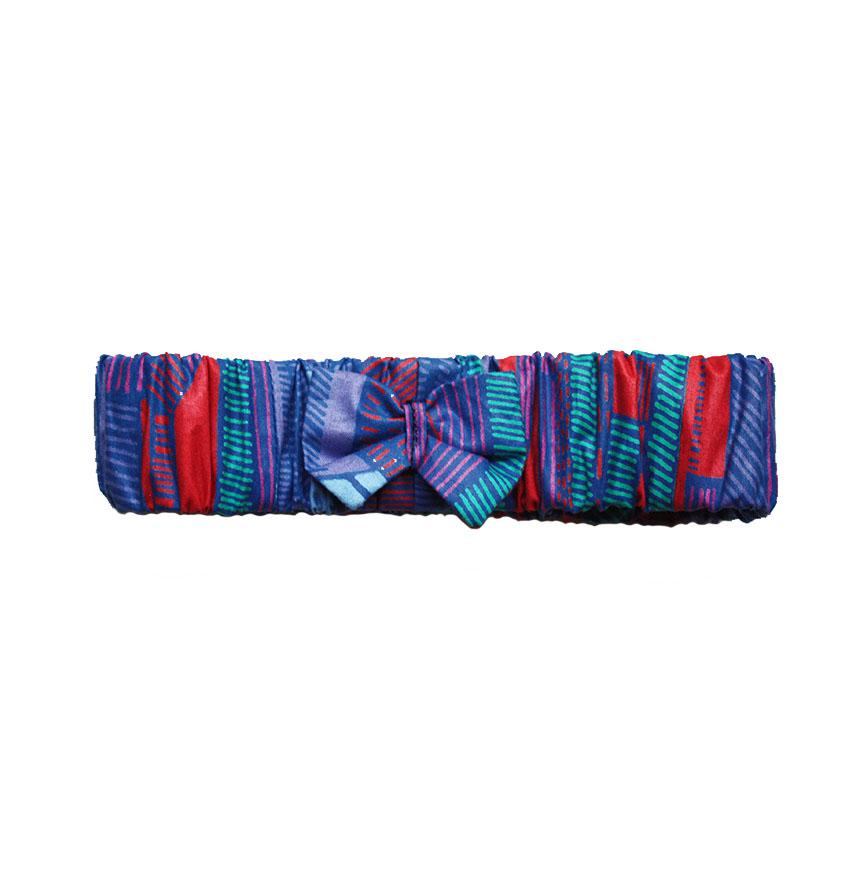 bandeau en tissu wax 100% coton pour enfant.   Élastique avec détail noeud