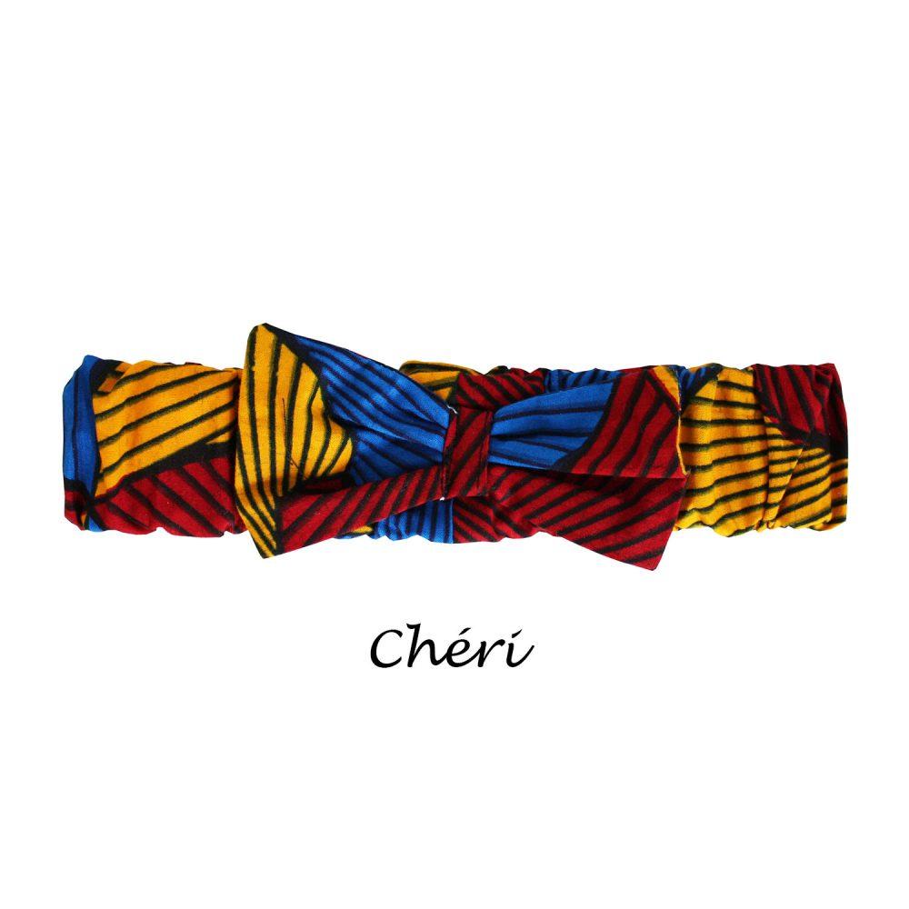 bandeau en wax pour enfant élastique avec détail noeud