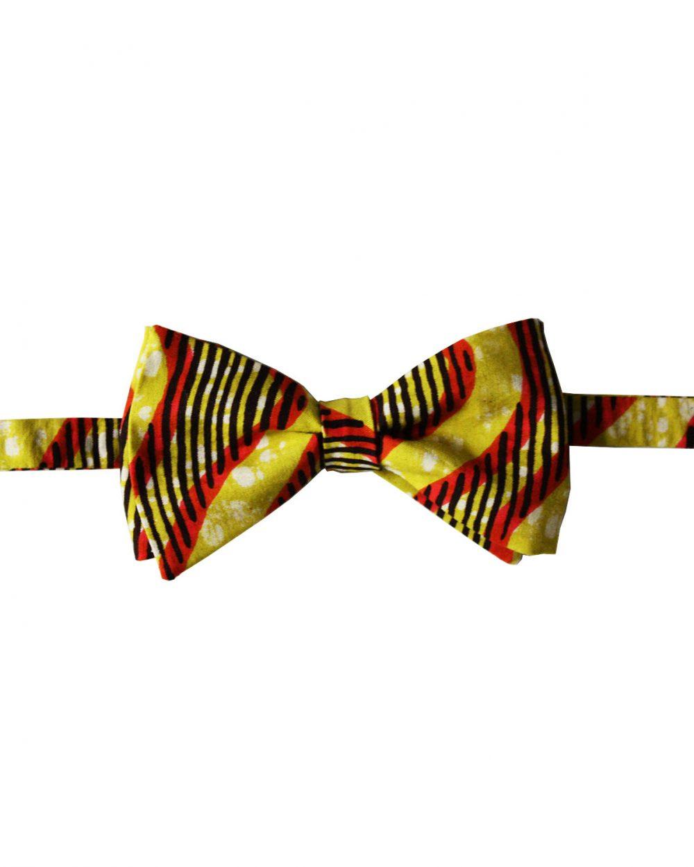Noeud papillon en wax Le Noeud Kipé jaune rouge noir