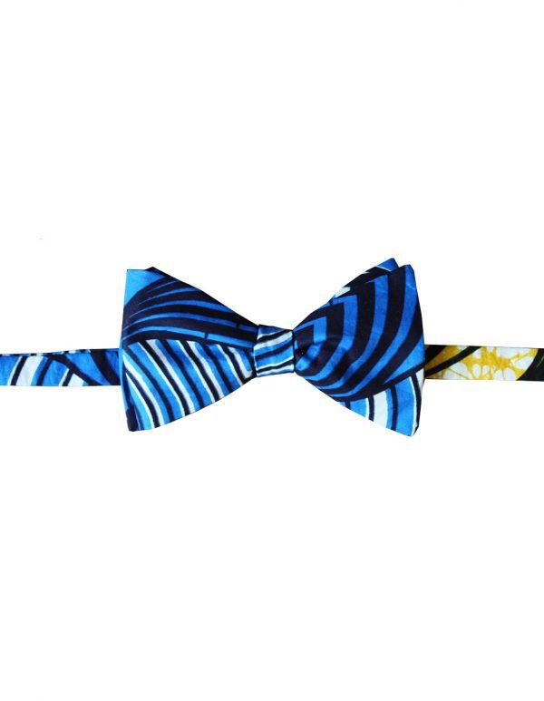 Noeud papillon en wax bleu kipé