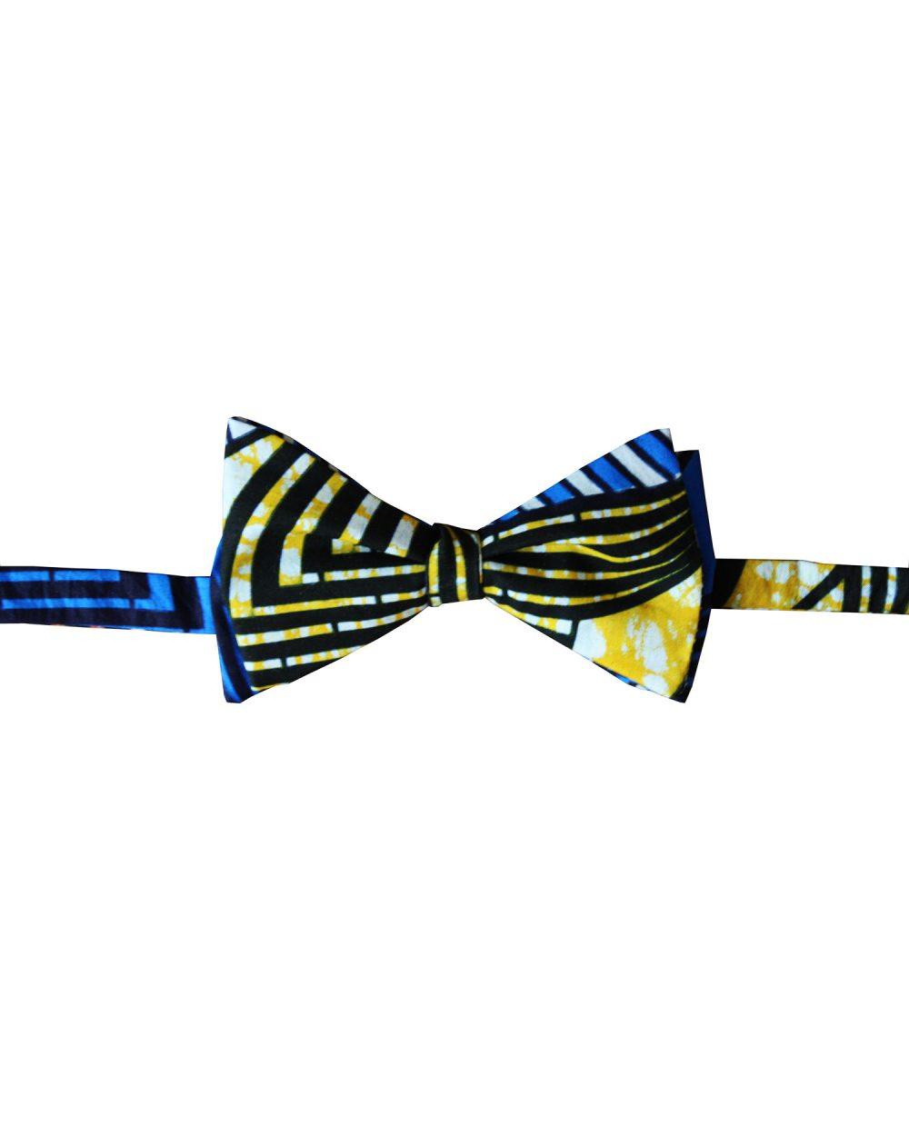 Noeud papillon wax homme bleu jaune | Kipé