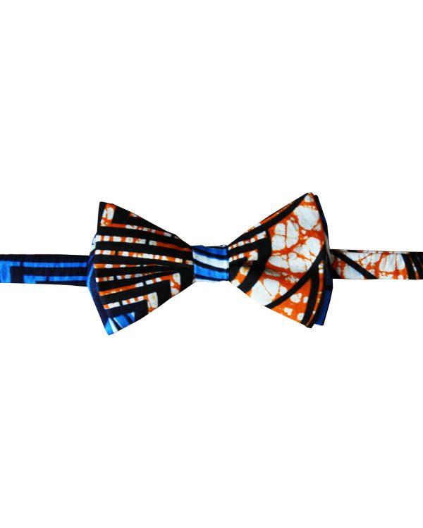 Noeud papillon en wax homme Kipé bleu orange