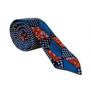 cravate en wax Kipe_Cube motif graphique bleu blanc noir orange