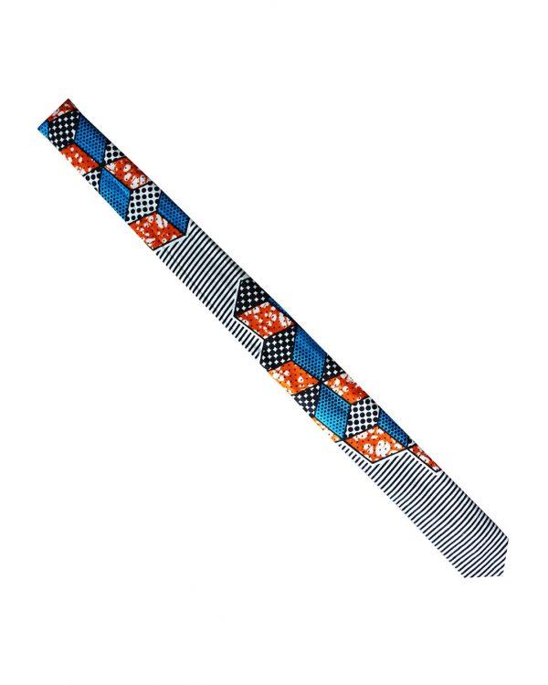 cravate en wax Kipé motif graphique bleu blanc orange