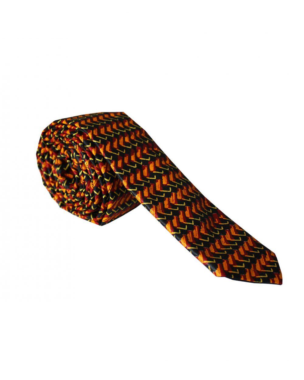Cravate en wax marron écailles |Le Noeud Kipé