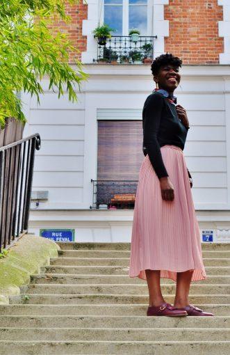jupe plissé rose col platron wax kipé