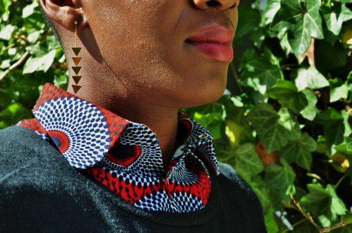 plastron wax kipé rouge et bleu pour femme