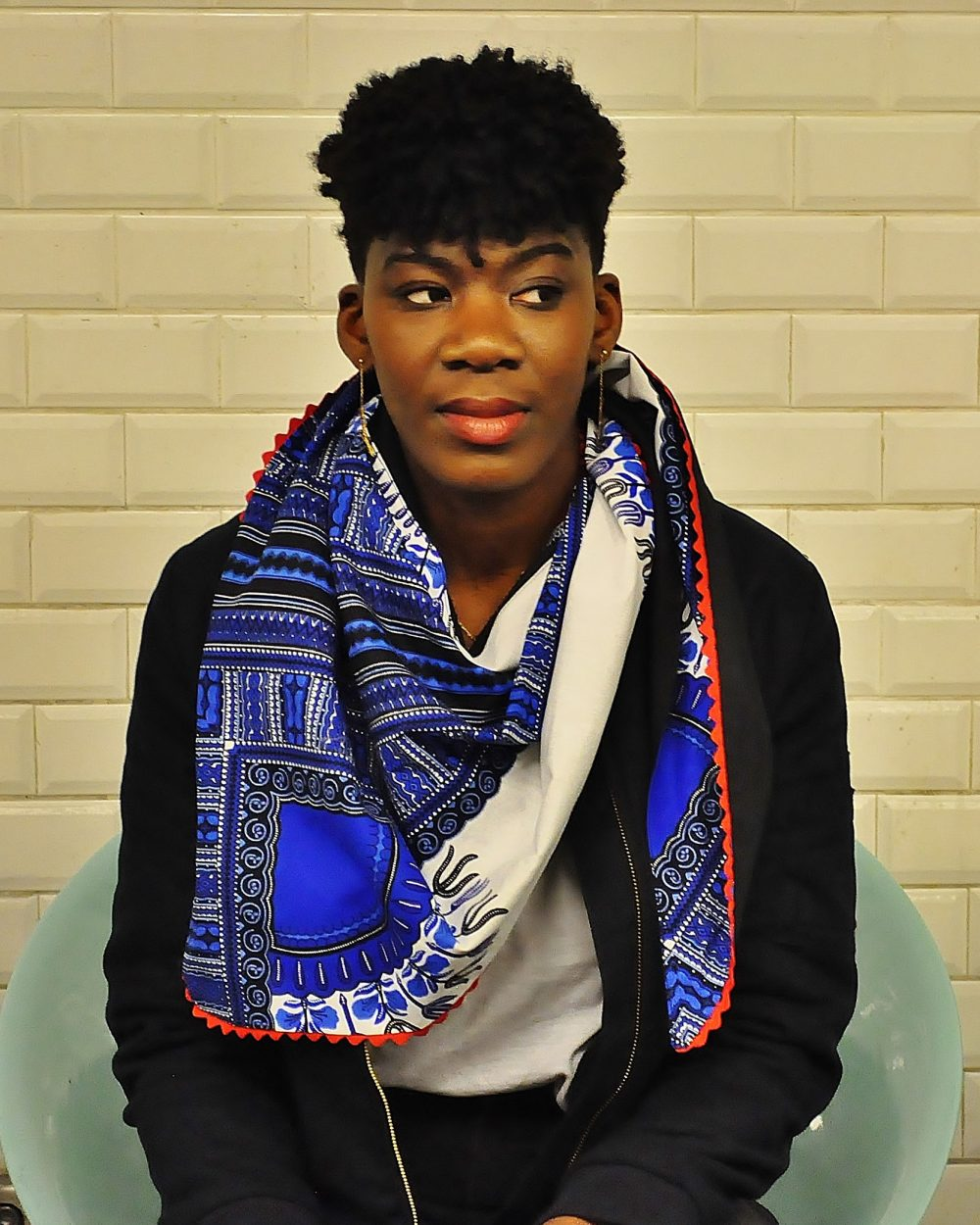 hooting Le Noeud Kipé - Accessoires Wax Tissu africain - Cheche addis Abeba bleu